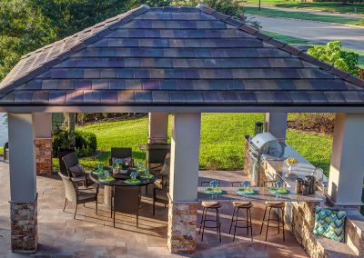 Custom Outdoor Kitchen and Cabana - Aerial View by Creekstone Outdoor Living in Houston Texas