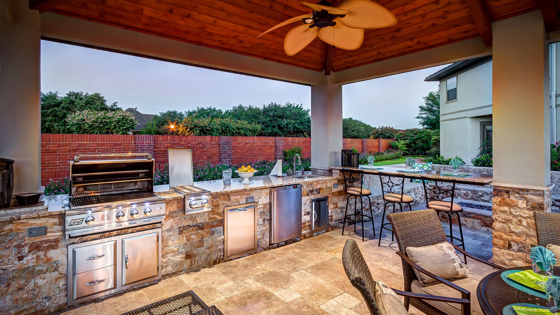 Custom Outdoor Kitchen and Cabana - Kitchen view by Creekstone Outdoor Living in Houston Texas