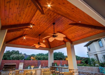 Custom Outdoor Kitchen and Cabana - C edar Ceiling View by Creekstone Outdoor Living in Houston Texas
