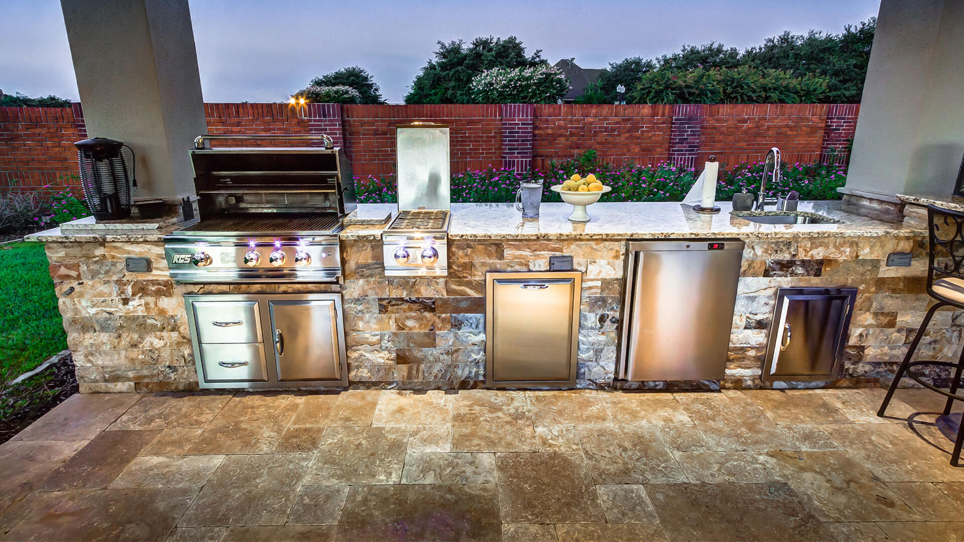 Custom Outdoor Kitchen and Cabana - Appliances View by Creekstone Outdoor Living in Houston Texas