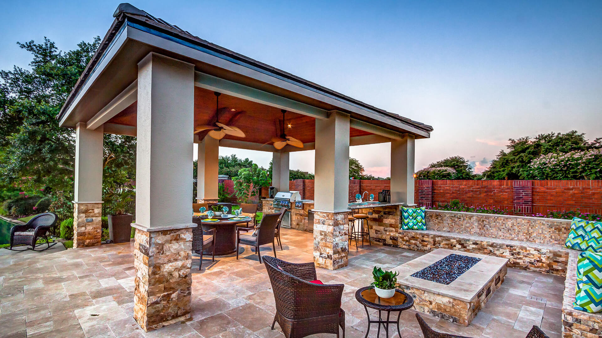 Custom Outdoor Kitchen and Cabana - Side View by Creekstone Outdoor Living in Houston TexasCustom Outdoor Kitchen and Cabana - Aerial View by Creekstone Outdoor Living in Houston Texas
