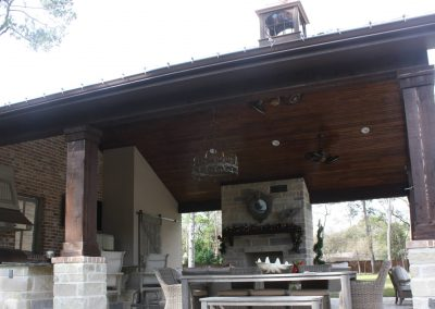 Houston Cabana with a Fireplace and Cedar planked Ceiling