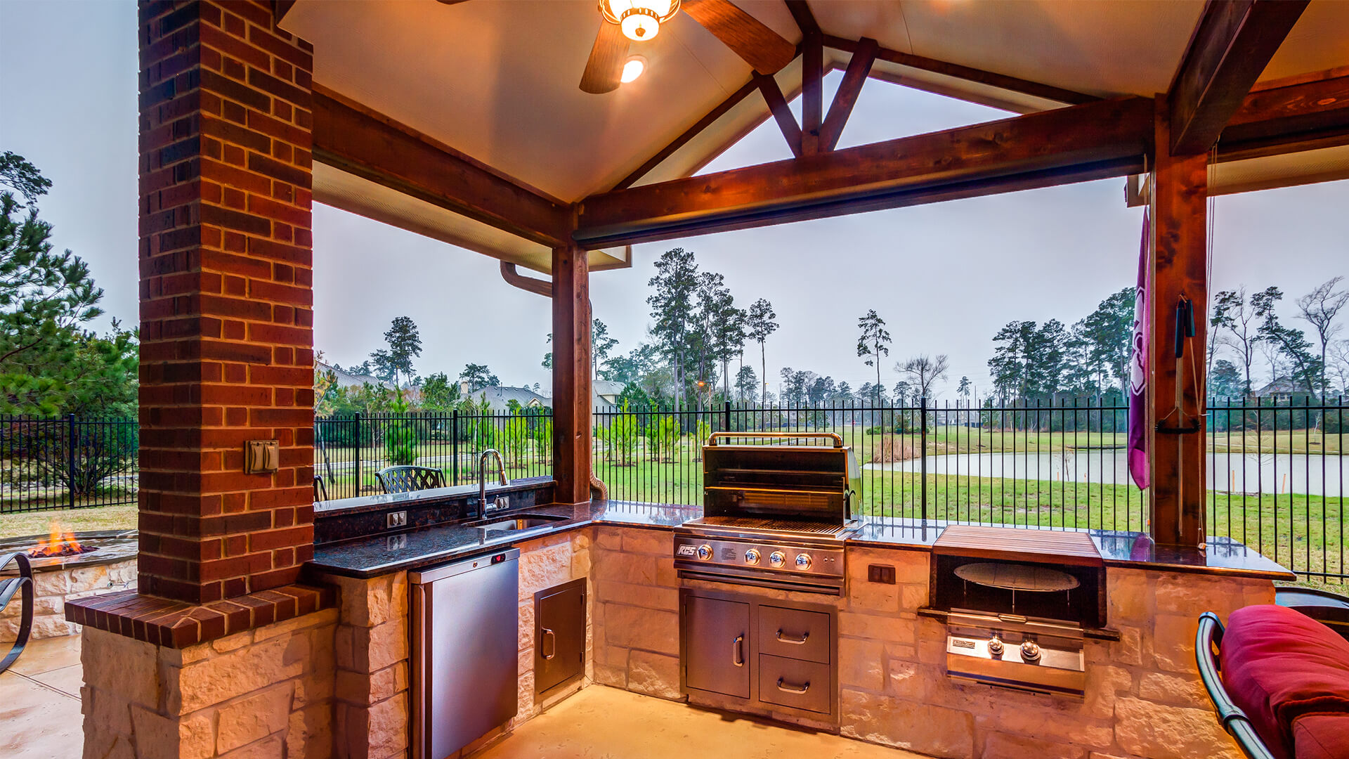 Custom Outdoor Kitchen with RCS Grill, Double Side burner, Refrigerator and Sink
