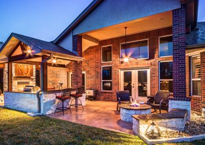 Custom Patio Cover with Firepit by Creekstone Outdoor Living