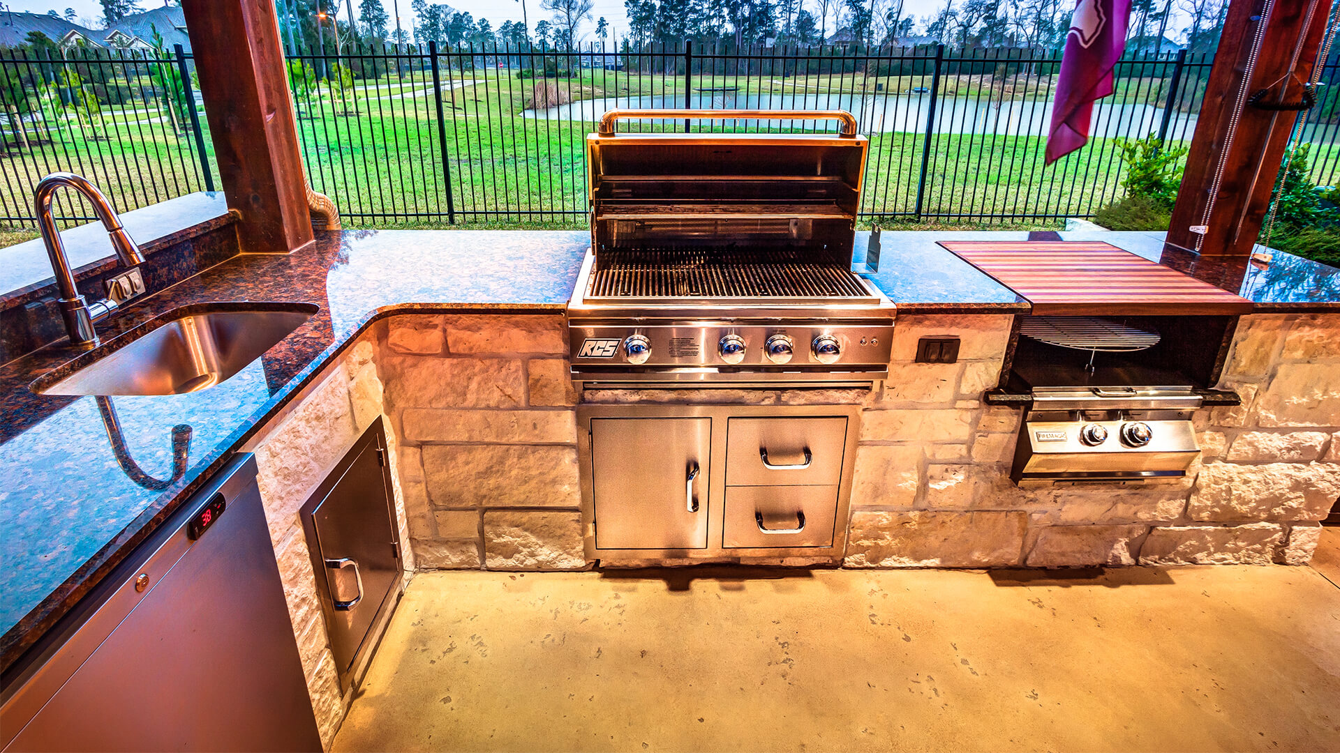 Houston Custom Outdoor Kitchen with RCS Grill, Double Side burner, Refrigerator and Sink