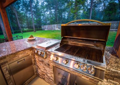 Custom Outdoor Kitchen with BLAZE Grill, Side Burner and Stainless Steel Refrigerator in Houston, Texas