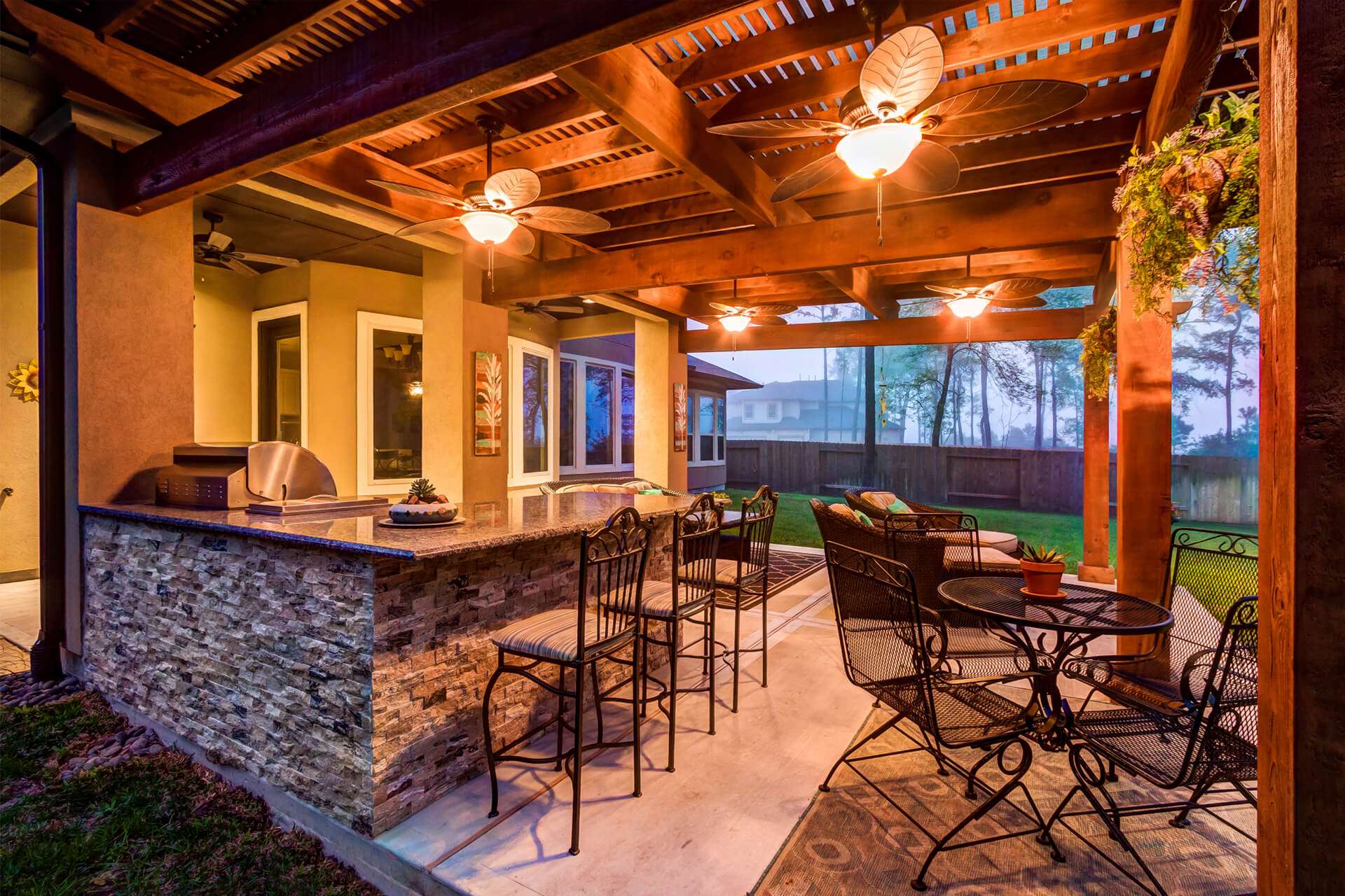 The Crescent Oaks - Custom Outdoor Pergola and custom Kitchen with Granite Countertop in Spring, Texas
