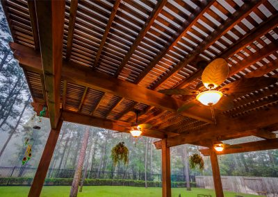 The Crescent Oaks - Custom Outdoor Pergola with Cedar Beams and Lighting in Spring, Texas