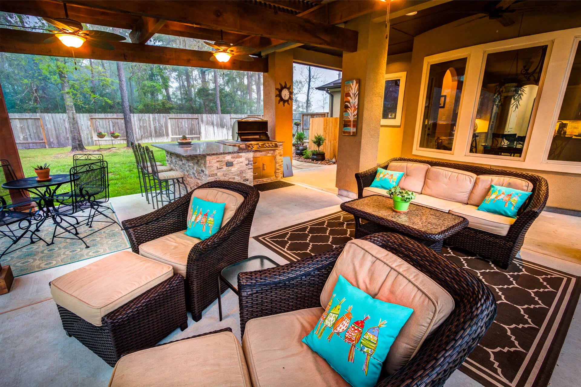 The Crescent Oaks - Custom Outdoor Pergola with Outdoor Kitchen and Living Space in The Woodlands, Texas