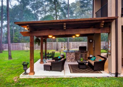 The Crescent Oaks - Custom Outdoor Pergola with Outdoor Kitchen and Living Space in Spring, Texas
