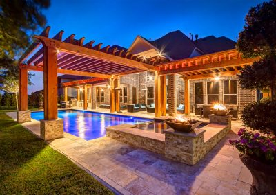 Custom Cedar Pergola over Pool with Living Space and Outdoor Kitchen